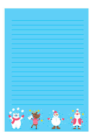 Christmas or New year holiday to do lists, notes with winter vector illustrations
