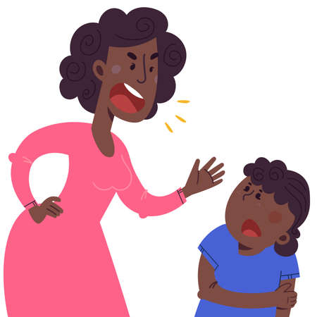 A mother beats his children. The concept of violence and abuse in the family. Flat illustration in cartoon style.
