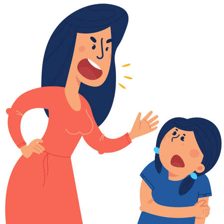 A mother beats his children. The concept of violence and abuse in the family. Flat illustration in cartoon style.  イラスト・ベクター素材