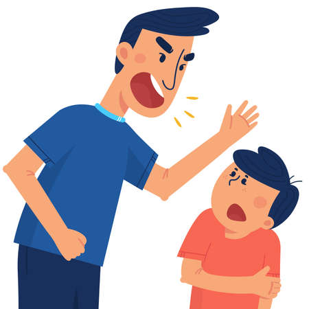 A father beats his children. The concept of violence and abuse in the family. Flat illustration in cartoon style.