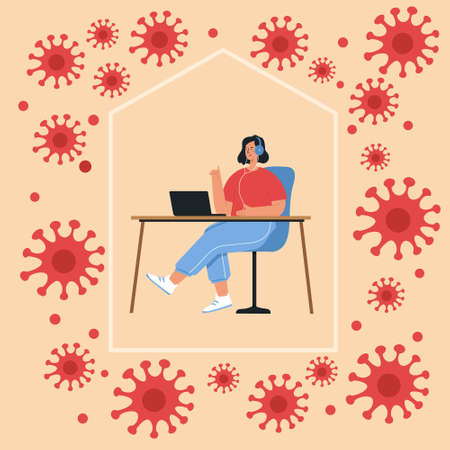 Pandemic of coronavirus and social distancing concept. Stay at home with self quarantine to help stop outbreak and protect virus spread.