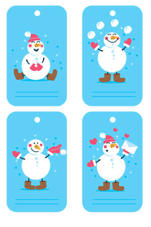 Vector holiday Christmas and new year tags with cartoon character Snow man