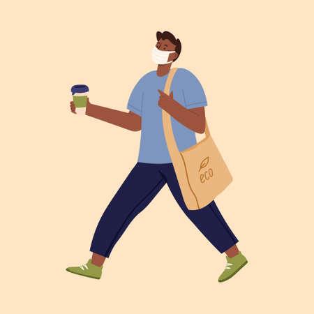 Epidemic disease concept. Man wearing disposable medical mask shopping in supermarket. Vektorové ilustrace