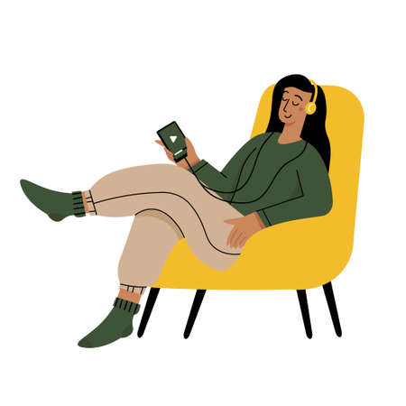 Girl reading a book and resting concept.