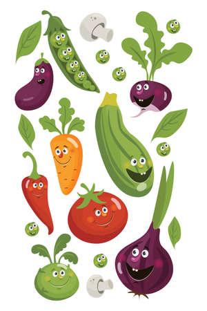 Fresh veggies chilli pepper, cucumber, carrot, garlic, eggplant and onion, zucchini, radish and tomato
