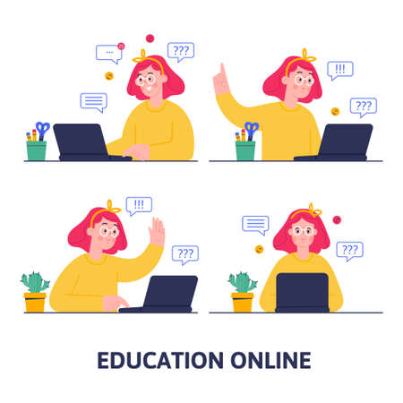 Online education concept. Distance study at school.