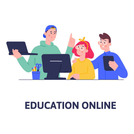 Boys and girl studying at home, online lessons, social distance education during quarantine, self-isolation, home schooler. Ilustración de vector