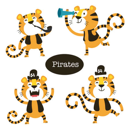 African Animals set. Cartoon cute Tiger pirate.