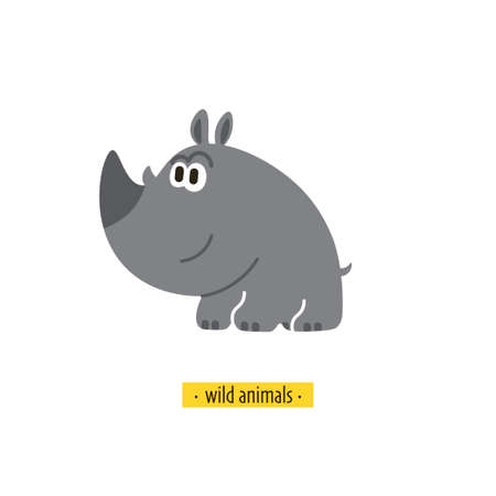 Cute vector rhino. Perfect for wallpaper cards stickers poster print packaging invitations Baby shower patterns travel