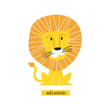 Cute vector lion king. Perfect for wallpaper cards stickers poster print packaging invitations Baby shower patterns travel