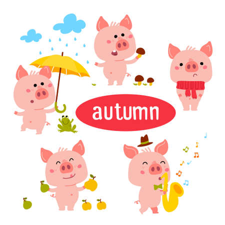 Little Pink Piggy Different Emotions And Situations. Set Of Cute Emoji Illustrations in different season winter, summer, autumn, spring