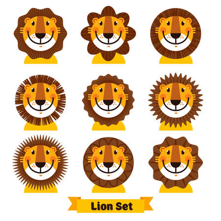 Cute African lion for symbol. Vector illustration isolated on a white background