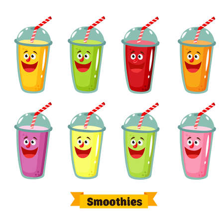 Vector illustration for design fast food menu.Organic raw fruit shake.Smoothie emoticon. Ilustracja