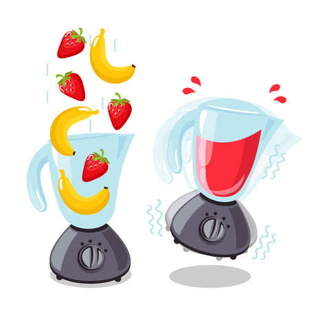 Organic raw strawberry and banana shake. Food processor, mixer, blender and fruit. Vector smoothie illustration. Ilustracja