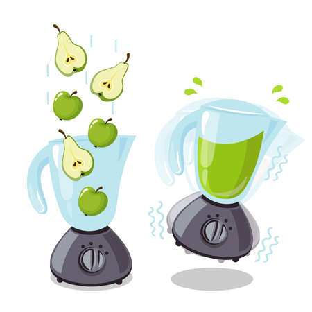 Organic raw pear and apple shake. Food processor, mixer, blender and fruit. Vector smoothie illustration. Ilustracja
