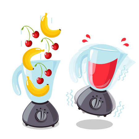 Organic raw cherry and banana shake. Food processor, mixer, blender and fruit. Vector smoothie illustration.
