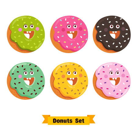 Funny cartoon donut character emoticon set. Happy donut sticker. Vector illustration.