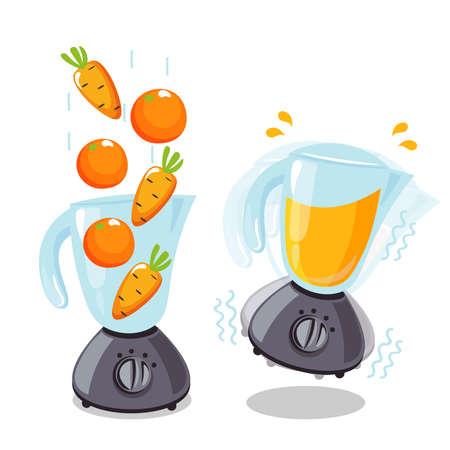 Organic raw carrot and orange shake. Food processor, mixer, blender and fruit. Vector smoothie illustration. Ilustracja