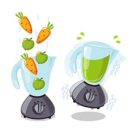 Organic raw carrot and apple shake. Food processor, mixer, blender and fruit. Vector smoothie illustration.