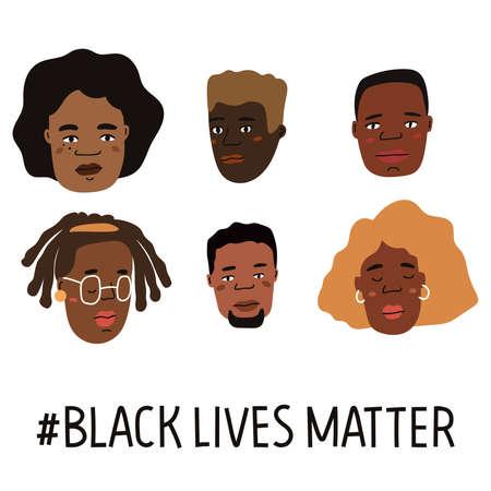 Black lives matter hand drawn poster, card collection. Campaign against racial discrimination of dark skin color. Vector Illustration. Vetores