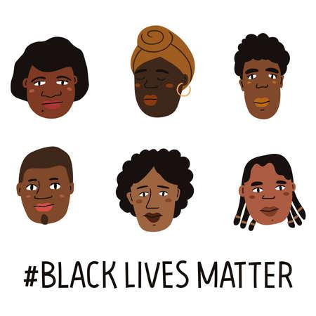 Black lives matter hand drawn poster, card collection. Campaign against racial discrimination of dark skin color. Vector Illustration.