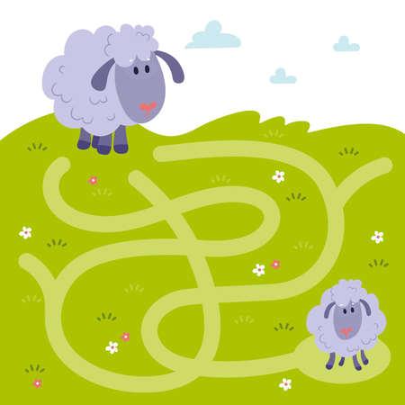 Maze, labyrinth education game. Puzzle games for children. Help the mother sheep find a little limb Illusztráció