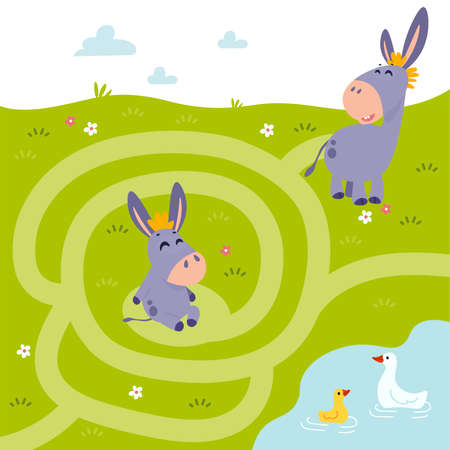 Conundrum. Farm animal educational maze game. Labyrinth page for childrens magazine, leisure activity task.