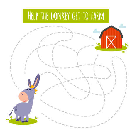 Conundrum. Farm animal educational maze game. Labyrinth page for children's magazine, leisure activity task. Activity for preschool years kids and toddlers.