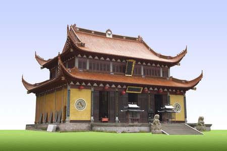 buddhist temple roof: A classic traditional Chinese Buddhist temple with lion statue in the front  Editorial