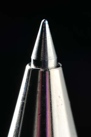 A Blue Roller-Ball Pen Tip Close-Up Shot Using Macro Lens   Stock Photo - 13806072