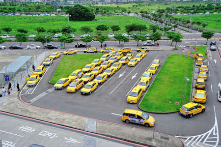 HSINCHU, TAIWAN - JUNE 2  The Taxi Stand in Hsinchu High Speed Rail Station on June 2, 2012  This is a very common scene in any Taiwan city  photo
