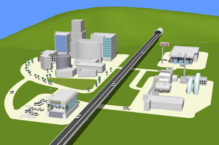 industrial park: 3D city landscape with buildings, highway, MRT and gas station  Stock Photo