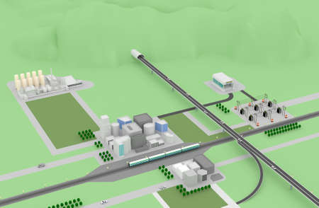 3D city landscape with buildings, highway, MRT and power station  photo