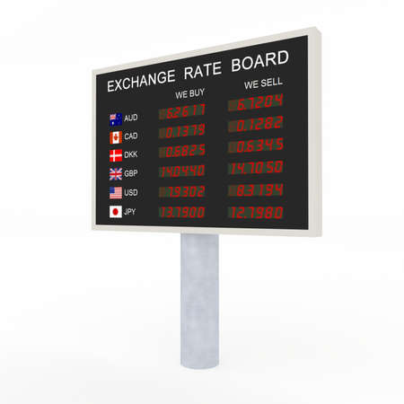 3d LED exchange rate board with common currency information  photo