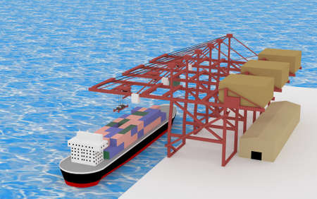 seaport: A cargo ship with 3D ocean transportation cranes