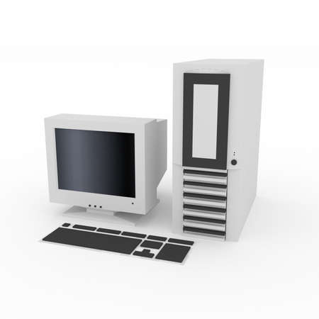 crt: 3D personal computer with CRT monitor and keyboard  Stock Photo