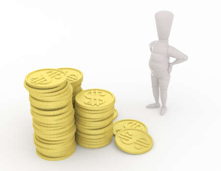waist: 3D mannequin looking at money with his hands on waist