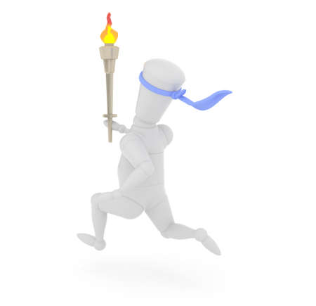 fat burning: 3D mannequin running with sports competition torch. Stock Photo