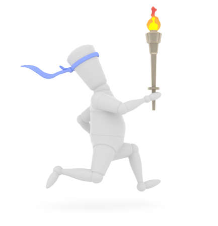3D mannequin running with Olympic torch. photo