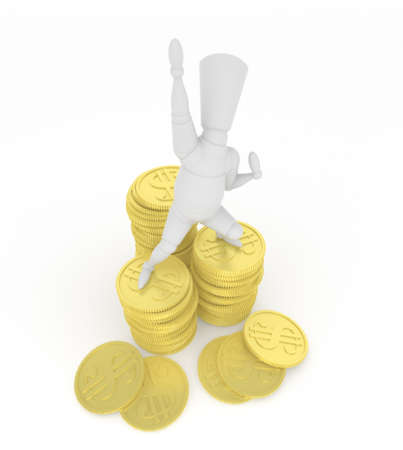3D mannequin hurrahing on money. photo