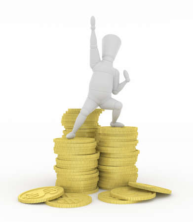 gain: 3D mannequin hurrahing on money. Stock Photo