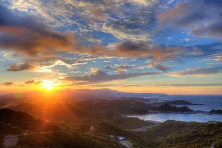 jiufen: Beautiful Sunset in Jiufen, Taiwan Stock Photo