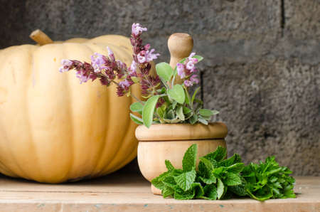 countrified: Rustic still life of aromatic herbs with a wooden mortar