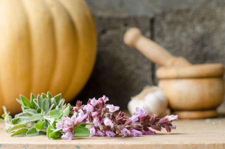 aromatický: Rustikální zátiší z aromatických bylin s dřevěným maltou