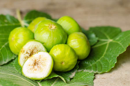 Fresh and ripe, green figs on fig leaves. Stock Photo - 45241143