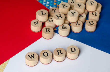 jumbled: Alphabet wooden stamps to write WORDS. Stock Photo