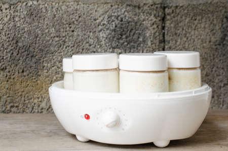 lactic: Homemade yogurt in  yogurt machine, rustic background.