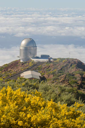 palma: Nordic optical telescope, Roque de los Muchachos Observatory in La Palma, Canary Islands, in spring with blue sky.