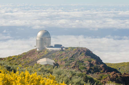 Nordic optical telescope, Roque de los Muchachos Observatory in La Palma, Canary Islands, in spring with blue sky.