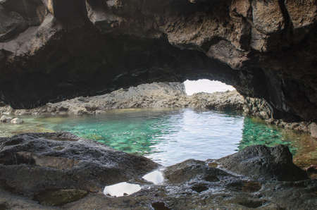 golfo: Charco Azul, Blue Pool, a natural pool  with turquoise water in El Hierro, Canary islands, Spain.